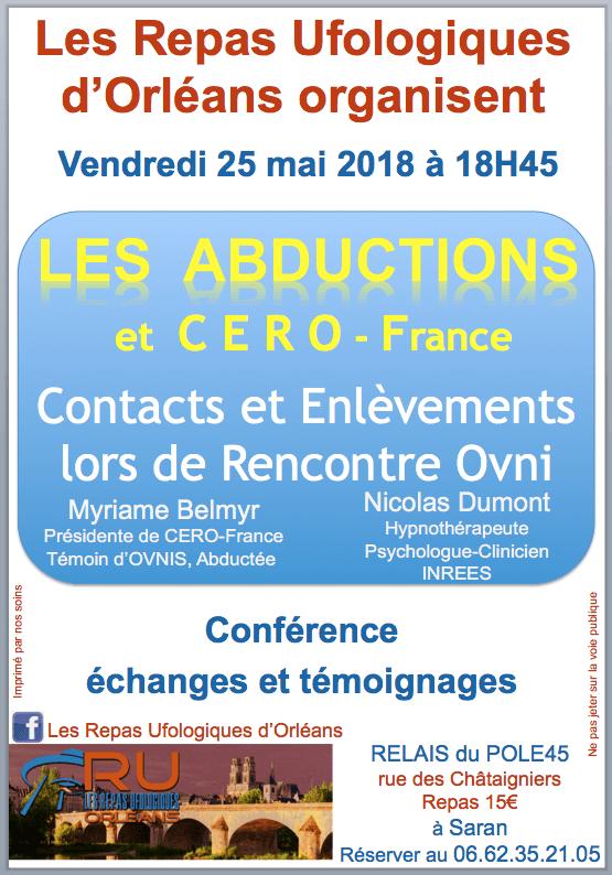 Repas Ufologiques d'Orléans – les Abductions – 25/05/18