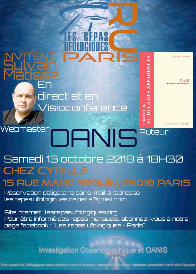 LES OBJETS AQUATIQUES NON-IDENTIFIES (OANIS) AUX REPAS UFOLOGIQUES DE PARIS, EN OCTOBRE 2018
