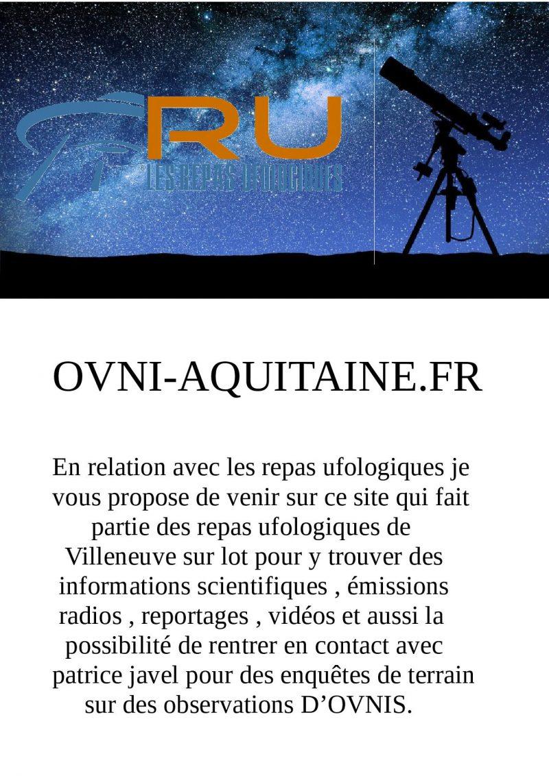 Les enquêtes de terrain des repas ufologiques de Villeneuve sur Lot